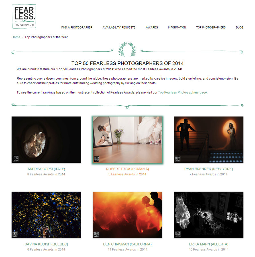 "Cromatica în ""Top 50 Fearless Photographers of 2014"""